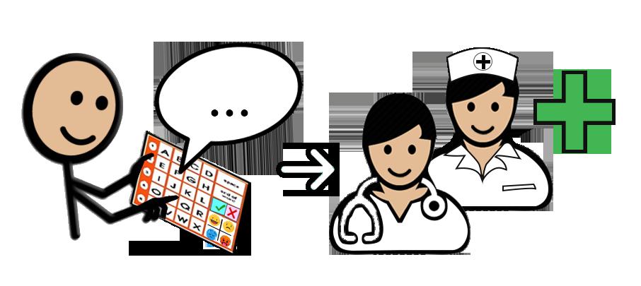 Persona sin habla comunicando de forma alternativa aumentativa a profesionales de la salud.